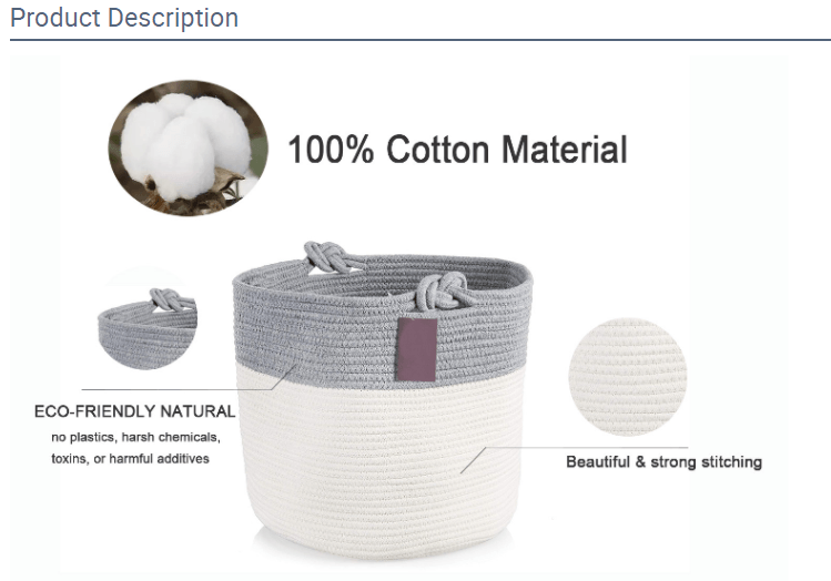 Product description that contains an image of a fabric bin