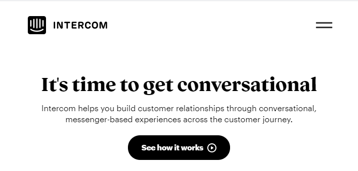 Intercom homepage