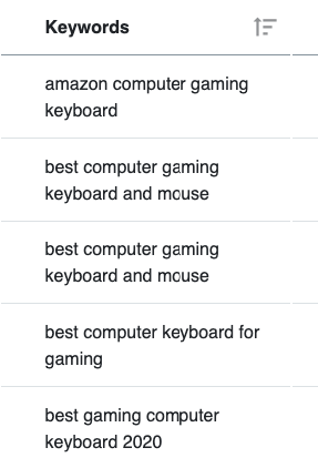 List of keywords about a gaming keyboard