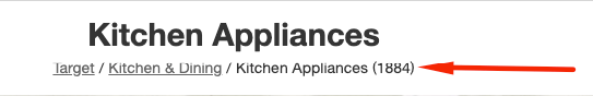 Breadcrumb navigation for kitchen appliances on a website