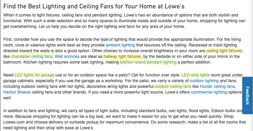 Description of the light products on Lowe's category page