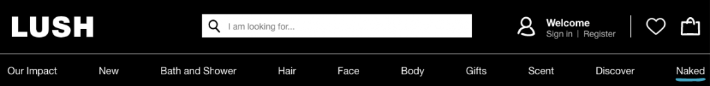 Navigation bar on Lush's website