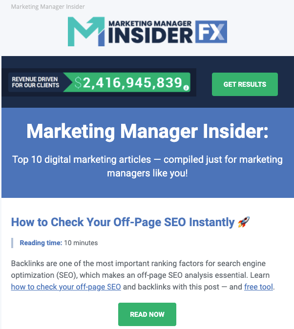 Example email from Marketing Manager Insider