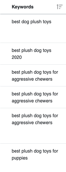 List of keywords for plush dog toys