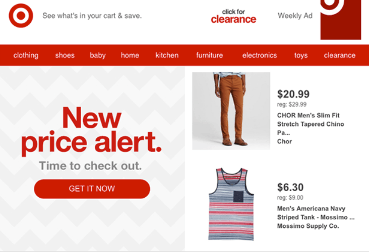 Target sending a retargeted email based on clothes a shopper viewed previously