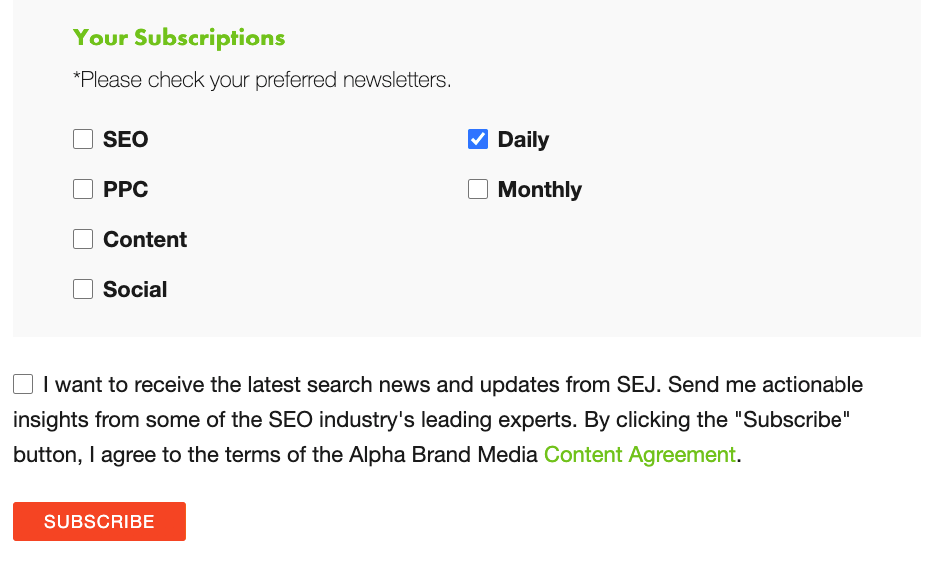 newsletter sign up page on Search Engine Journal.