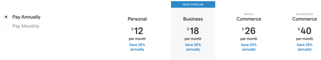 Pricing chart for Squarespace