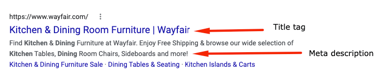 Listing for Wayfair showcasing the title tag and meta description