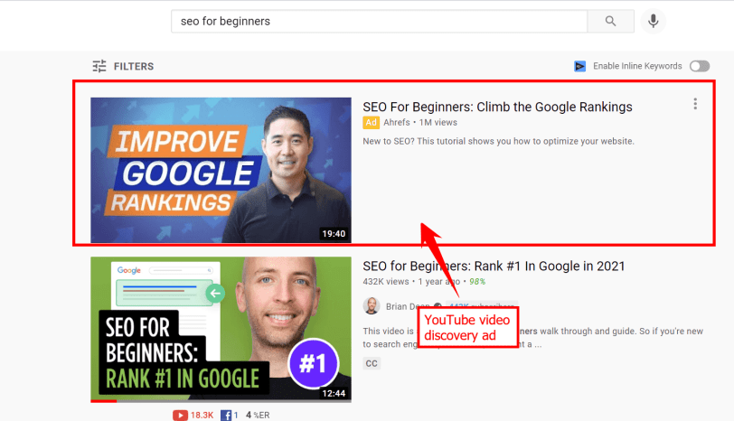 A YouTube video discovery ad in the search results featuring a video by Ahrefs on the topic of SEO
