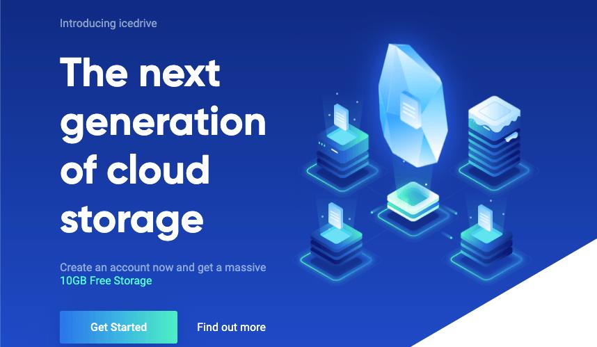 Homepage for Icedrive storage