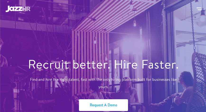 Homepage for JazzHR recruitment tool