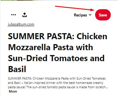 Pinterest pin about pasta
