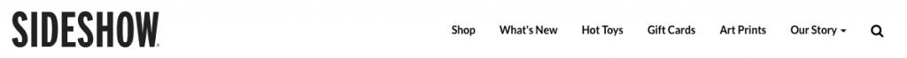 Navigation bar on sideshow navigation website