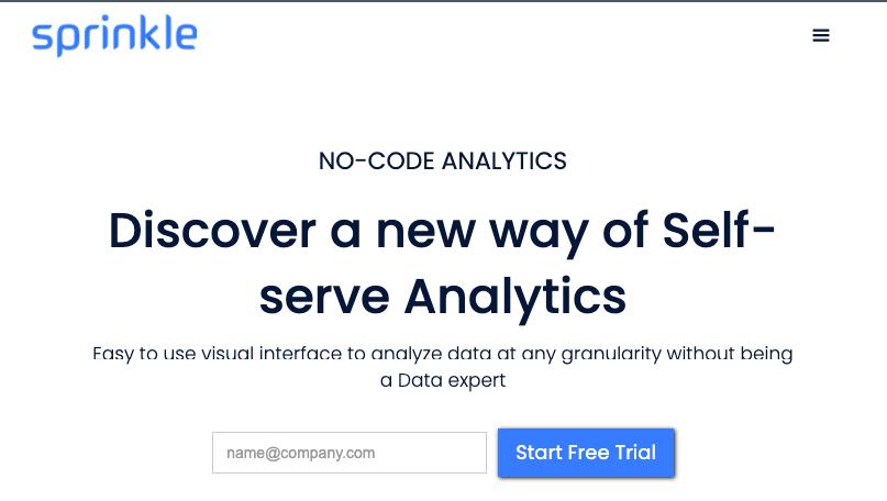 Homepage for data analysis tool Sprinkle