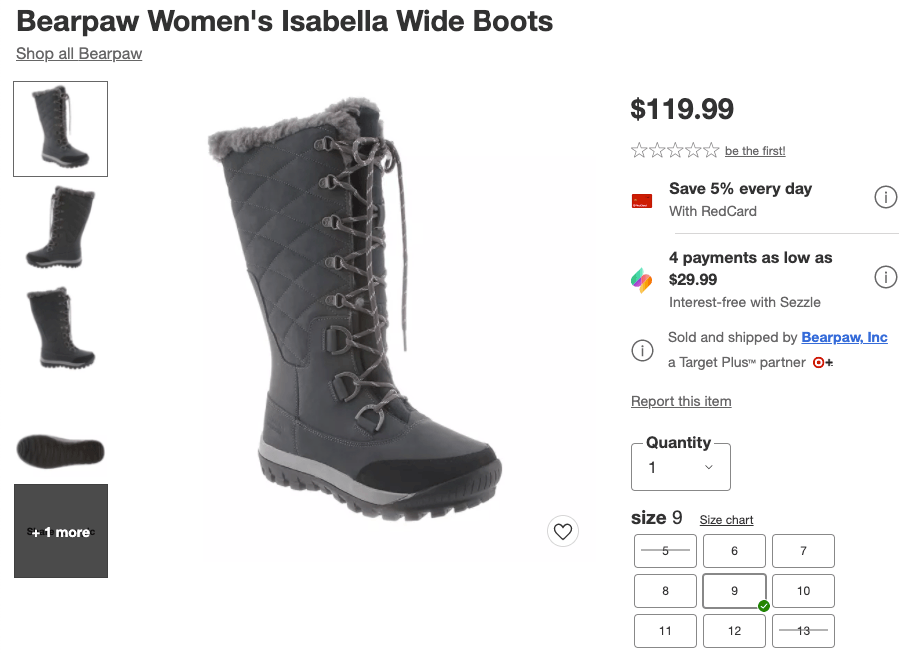 Product listing for boots from Target