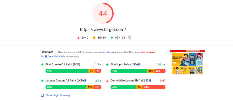 A PageSpeed Insights report with Core Web Vitals metrics