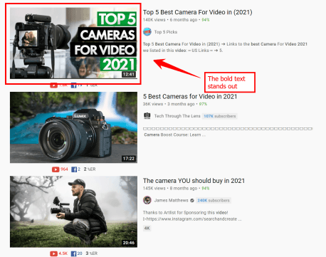 A comparison of thumbnails for videos about cameras with an arrow pointing to a great thumbnail featuring text outlined by colorful rectangles