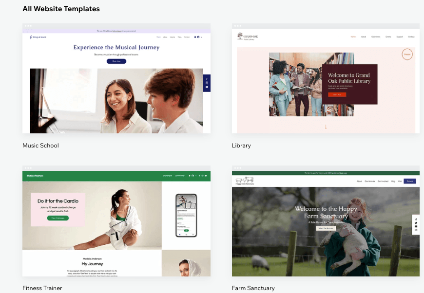 Website templates from Wix