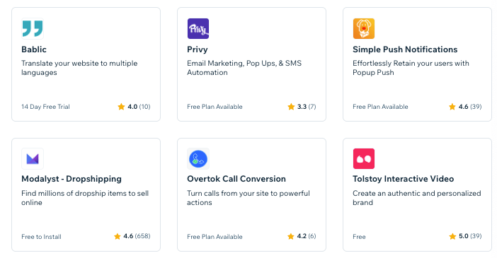 Selection of apps from Wix