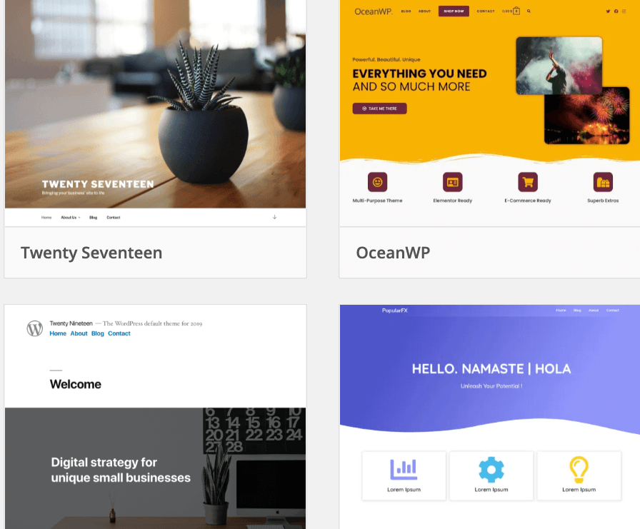 Templates from WordPress's website