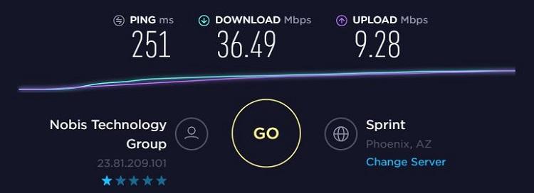 SpeedTest NordVPN US