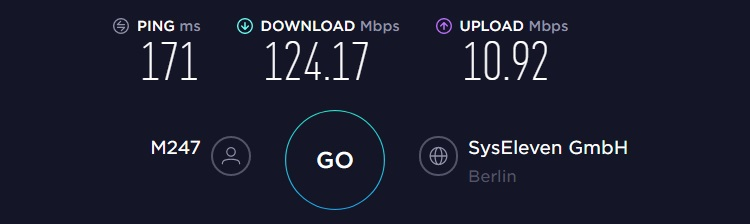 CyberGhost VPN speed test result from Germany server. Ping=171ms, download=124.17Mbps, upload=10.92Mbps.