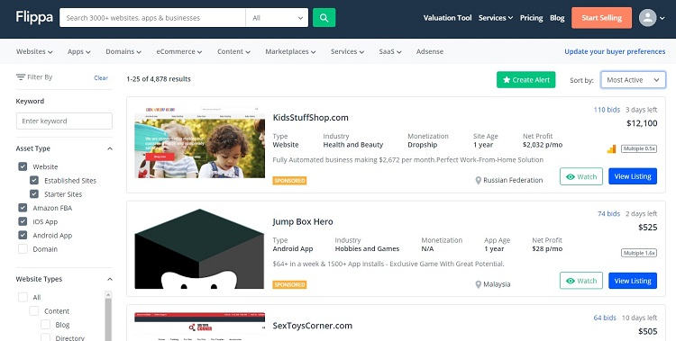 Bulild and sell website