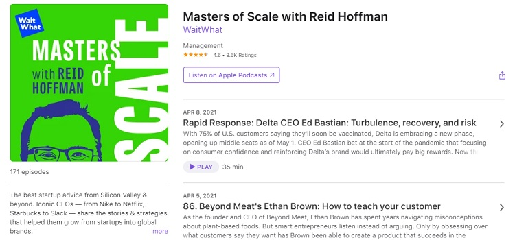 Business Podcast - Masters of Scale with Reid Hoffman