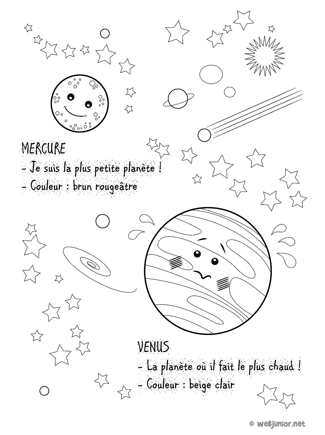 Planetes Mercure Et Venus Coloriage Sciences Gratuit