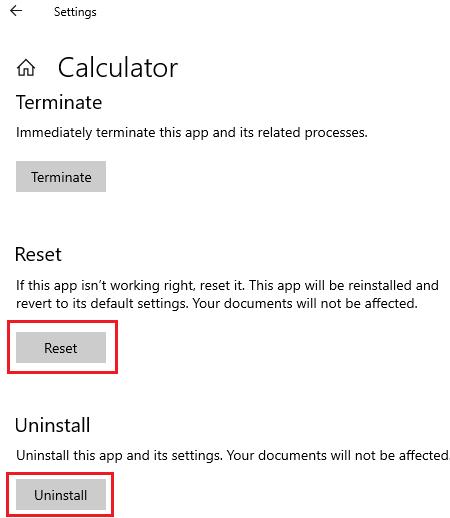 Reset or uninstall calculator