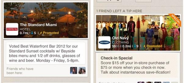 Foursquare : Mises à jour sponsorisées pour attirer les clients