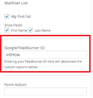 Insert the right Code - The Feed does not have Subscriptions by Email Enabled
