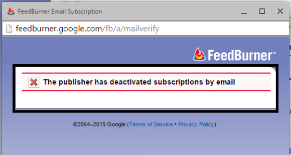 Error - The Feed does not have Subscriptions by Email Enabled