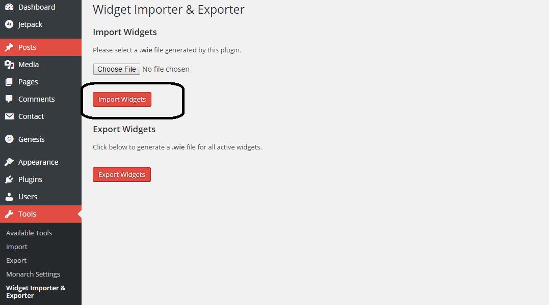 Widgets Import And Export Plugin