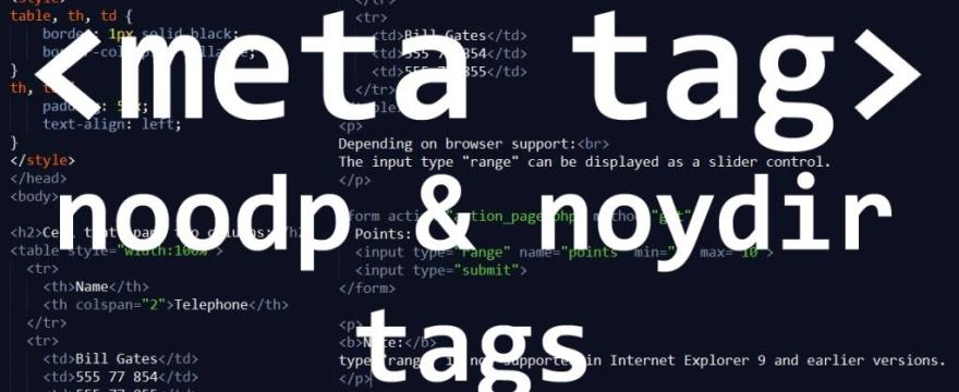 What are noodp and noydir meta-tags in SEO