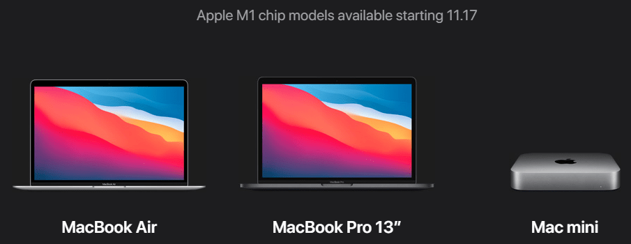 Apple Mac computers available November 17 2020 that can be configured with the M1 CPU