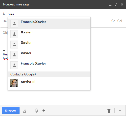 ecrire à un membre de google plus