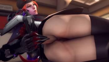 Moira d'Overwatch hentai s'encule avec un sextoy