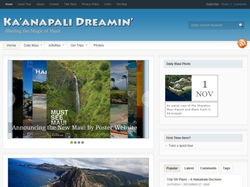 Ka'anapali Dreamin' portfolio homepage