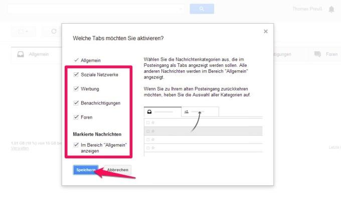 Google Mail Häkchen entfernen und speichern