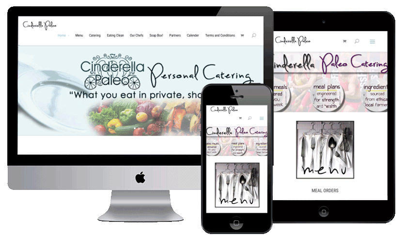 Paleo Catering | Responsive website with full width images, online ordering, social media integration and powerful SEO