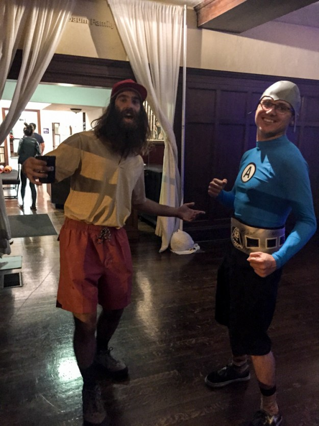 Hatha for Hunger 2015, JT as Forrest Gump and me as Aquabat