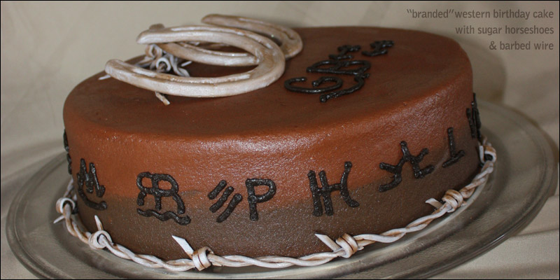 Magnificent Western Branded Birthday Cake With Horseshoes Barbed Wire Funny Birthday Cards Online Inifodamsfinfo