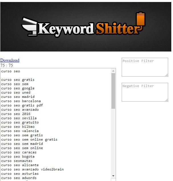 Resultados de palabras clave con Keyword Shitter