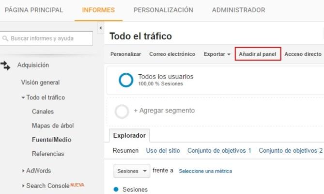 Crear widget en panel de Analytics desde informe existente