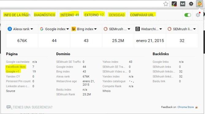 Extensión Google Chrome para posicionamiento web