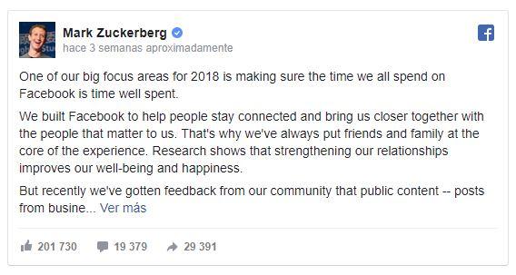 Publicación cambio algoritmo Facebook enero 2018
