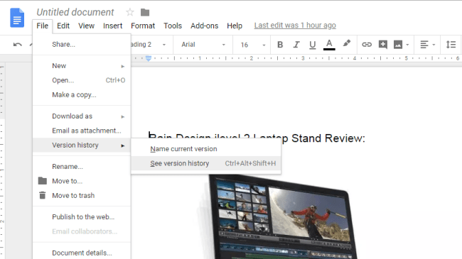 google docs view previous versions