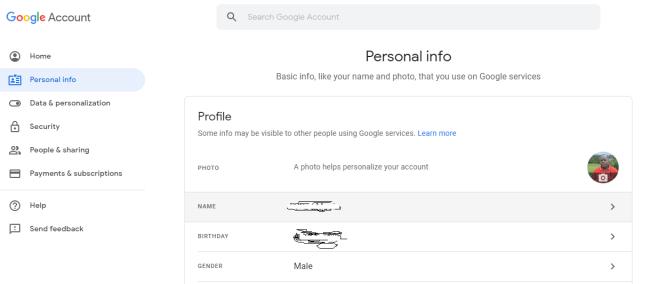 change google account name