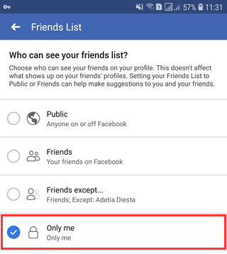 how to hide friends on facebook mobile